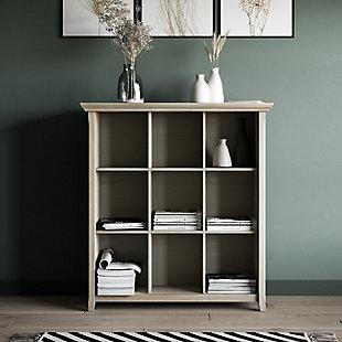 Simpli Home Acadian Rustic 9-Cube Bookcase, Gray, rollover
