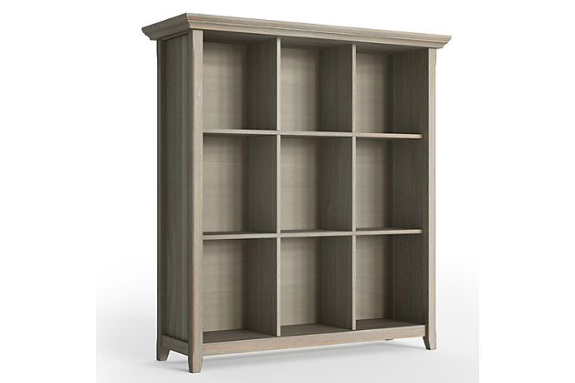 Simpli Home Acadian Rustic 9-Cube Bookcase, Gray, large