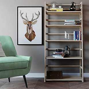"Simpli Home Acadian 63"" Rustic Ladder Shelf, Gray, rollover"