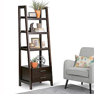 """Simpli Home Sawhorse 72"""" Wooden Ladder Shelf with Storage, , rollover"""