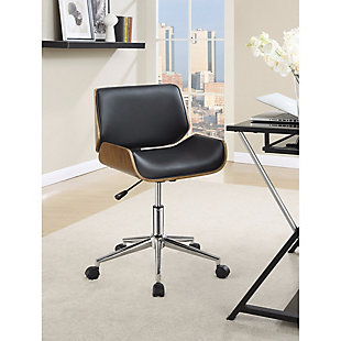 Benzara Contemporary Small Back Home Office Chair, Black/Walnut, rollover