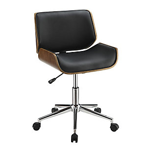Benzara Contemporary Small Back Home Office Chair, Black/Walnut, large