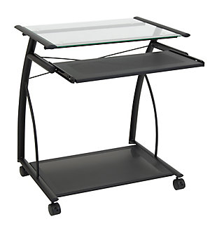 Calico Designs Compact Computer Cart, Black/Clear, large