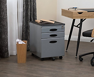 Calico Designs Metal Mobile File Cabinet with Locking Drawers, Silver, rollover