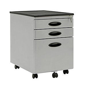 Calico Designs Metal Mobile File Cabinet with Locking Drawers, Silver, large