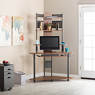 Calico Designs Arch Corner Computer Tower with Hutch, Pewter/Teak, rollover