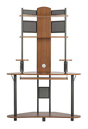 Calico Designs Arch Corner Computer Tower with Hutch, Pewter/Teak, large