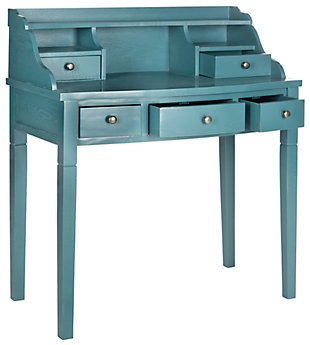 5 Drawer Writing Desk, Blue, large
