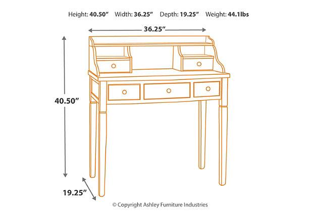 5 Drawer Writing Desk, Brown, large