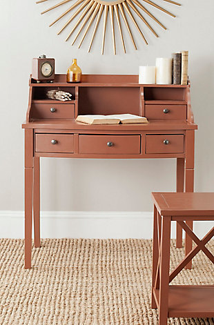 5 Drawer Writing Desk, Brown, rollover