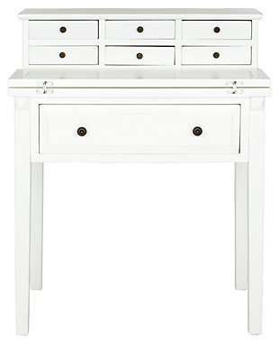 7 Drawer Fold Down Desk, White, large