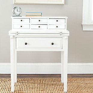 7 Drawer Fold Down Desk, White, rollover