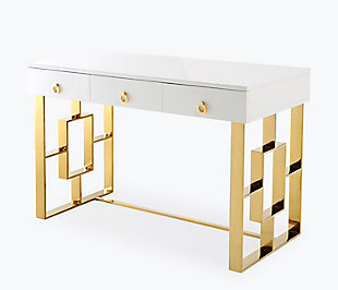 TOV Furniture Audrey White Lacquer Desk, , large