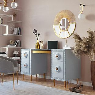 TOV Furniture Bovey Light Gray Lacquer Desk, , rollover