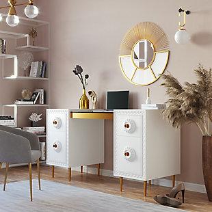 TOV Furniture Bovey White Lacquer Desk, , rollover
