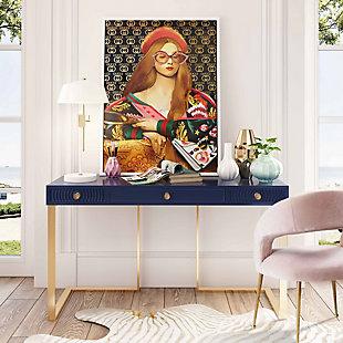 TOV Furniture Janie Blue Lacquer Desk, , rollover