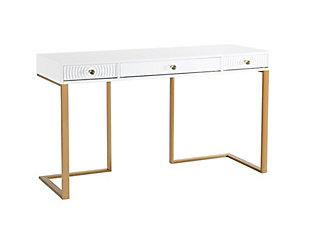 TOV Furniture Janie White Lacquer Desk, , large