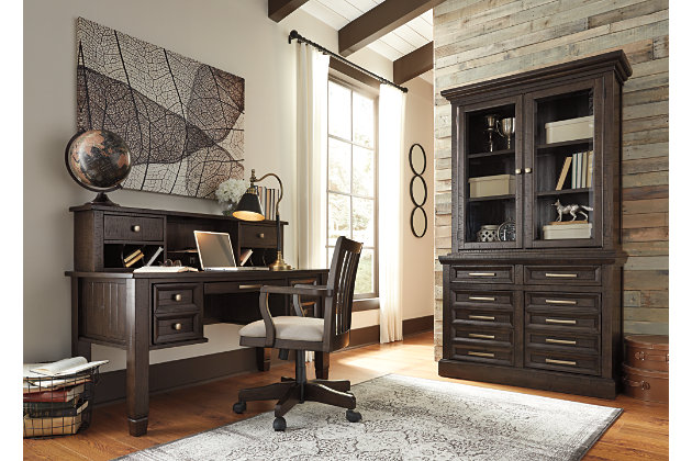 townser complete home office set with desk chair and credenza with glass door hutch