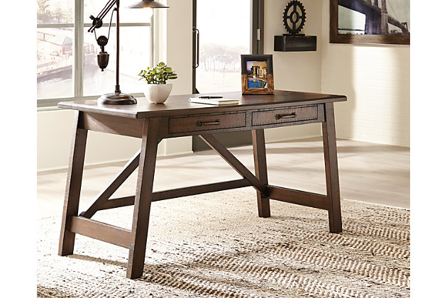Rustic Brown Baldridge Home Office Desk View 1