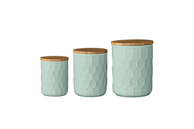 """4-1/2"""", 5"""" and 5-1/2""""H Stoneware Canisters with Bamboo Lid, Mint, Set of 3, , large"""