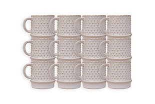 "3-3/4""H 10 oz. Stoneware Mug, White Hobnail Pattern, , rollover"