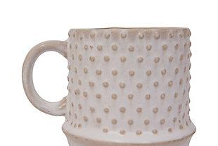 "3-3/4""H 10 oz. Stoneware Mug, White Hobnail Pattern, , large"