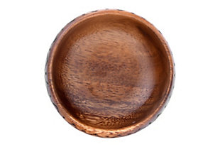 """3.75"""" Round Acacia Wood Bowl with Burned Design (Set of 12 Pieces), , large"""