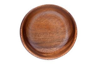 "6"" Round Acacia Wood Bowl with Burn Design, , large"