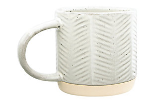 12 oz. Debossed Stoneware Mug with Reactive Glaze Finish (Set of 4 Patterns/Each one will vary), , large