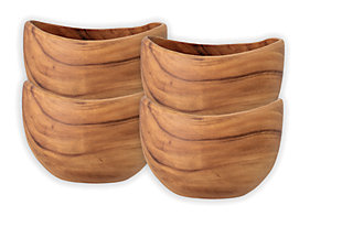 "7"" Round Carved Acacia Wood Salad Bowl (Set of 4), , large"