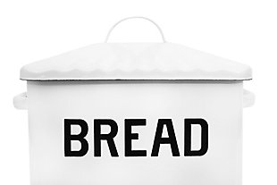"""13-1/2""""L x 8-1/2""""W x 12""""H Enameled Box with Lid, Distressed White """"Bread"""", White, large"""