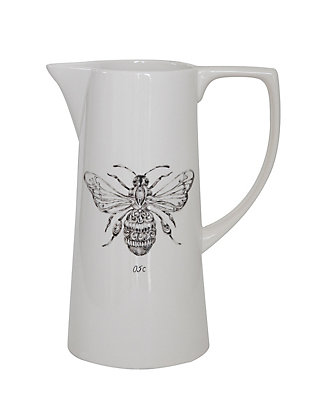 "7-3/4""L x 5""W x 10""H 64 oz. Ceramic Pitcher with Bee, , large"