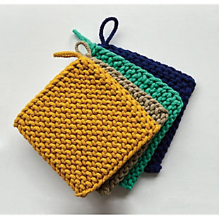 Creative Co-Op Square Cotton Crocheted Pot Holders (Set of 4 Colors), , rollover