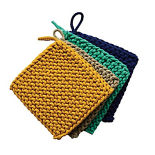 Creative Co-Op Square Cotton Crocheted Pot Holders (Set of 4 Colors), , large