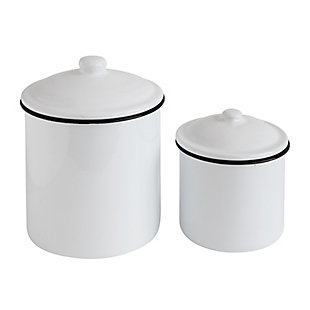 "6"" Round x 7-3/4""H and 4-3/4"" Round x 6""H Enameled Containers with Lids, White with Black Rim, Set of 2, , large"