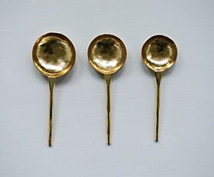 """8""""L, 7""""L and 6-1/4""""L Stainless Steel Spoons/Scoops, Gold Finish, Set of 3, , large"""