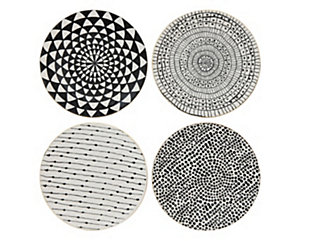 Black and White Stoneware Plate with Gold Electroplating (Set of 4 Designs), , large