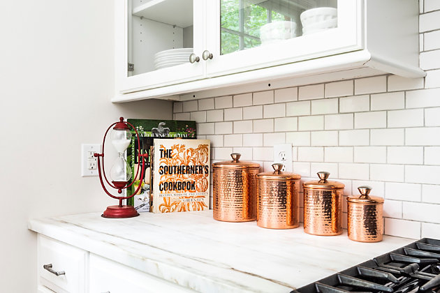 """6"""" Round x 9""""H, 5"""" Round x 8""""H, 4"""" Round x 7""""H and 3"""" Round x 5""""H Hammered Stainless Steel Canisters, Copper Finish, Set of 4, , large"""