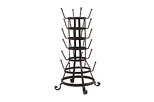 "13-3/4"" Round x 24-1/2""H Metal Bottle Holder with Hooks, Black Iron Finish, Black, large"