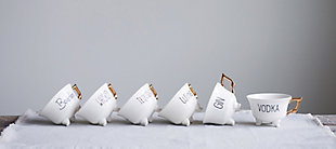 Stoneware Footed Teacup with Saying and Gold Electroplating, Set of 6 Styles, , rollover