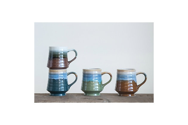 Reactive Glaze Stoneware Mug (Set of 4 Colors), , large