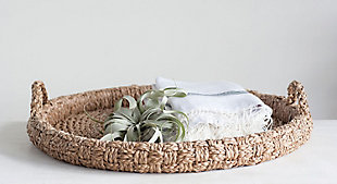 """29"""" Round Decorative Braided Bankuan Tray with Handles, , rollover"""