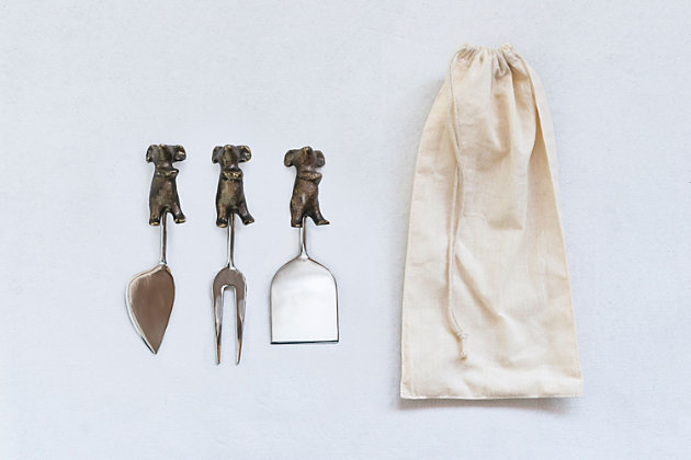 """6-1/2""""L Cast Aluminum Mice Cheese Servers, Set of 3 in Drawstring Bag, , large"""