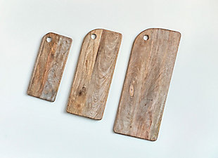 """Creative Co-Op 30""""L x 12""""W, 24""""L x 10""""W and 18""""L x 8""""W Mango Wood Cheese/Cutting Boards, Set of 3, , large"""