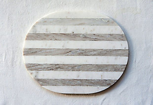 "15""L x 12""W Marble Cheese/Cutting Board, Gray and White Stripe, , rollover"