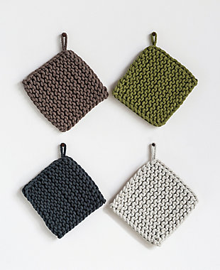 Square Cotton Crocheted Pot Holders (Set of 4 Colors), Multi, rollover