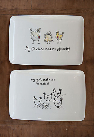 """""""My Chickens Think I'm Amazing"""" Rectangle White Stoneware Platter (Set of 2 Designs), , rollover"""