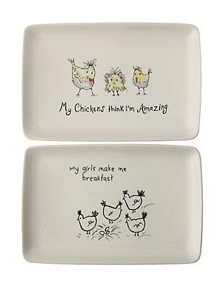"""My Chickens Think I'm Amazing"" Rectangle White Stoneware Platter (Set of 2 Designs), , large"