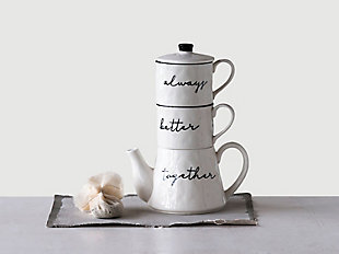 """7-1/2""""L x 10""""H 18 oz. Stoneware Stackable Teapot and (2) 8 oz. Mugs """"Always Better Together"""", White, Set of 3, , rollover"""