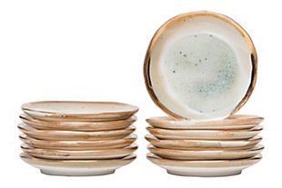 Blue and Cream Stoneware Plate with Crackle Finish and Gold Electroplating (Set of 12 Plates), , rollover
